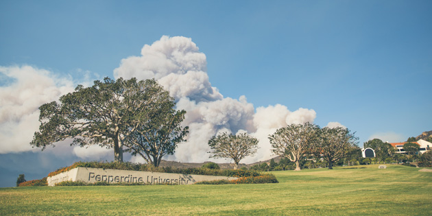 pepperdine campus during woolsey fire