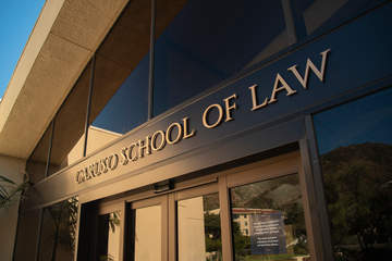 Caruso School of Law building signage