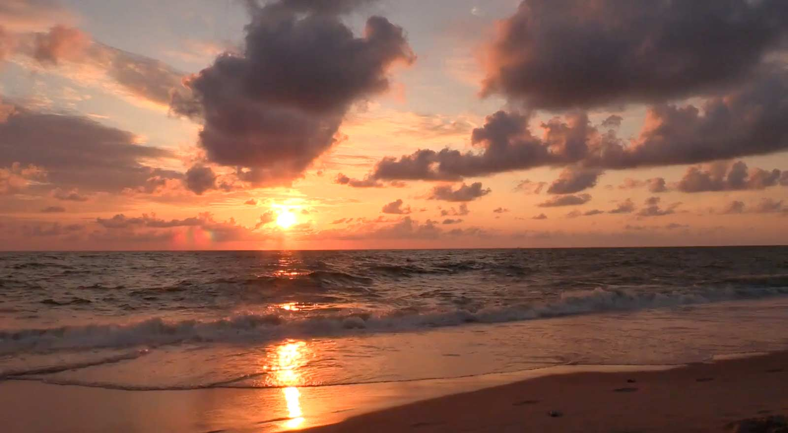 Video of ocean waves at sunset