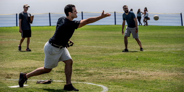 Pepperdine Law 1L students playing softball during launch week