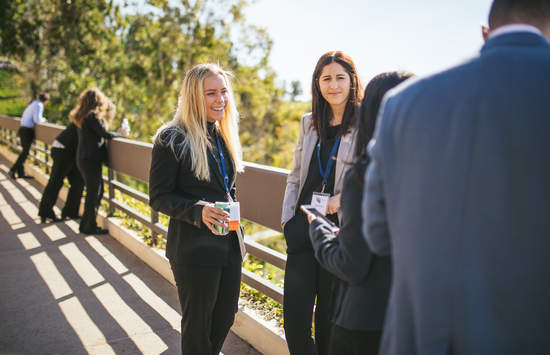 JD students speak on the terrace at Pepperdine Caruso School of Law