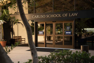 Caruso School of Law building entrance and doors