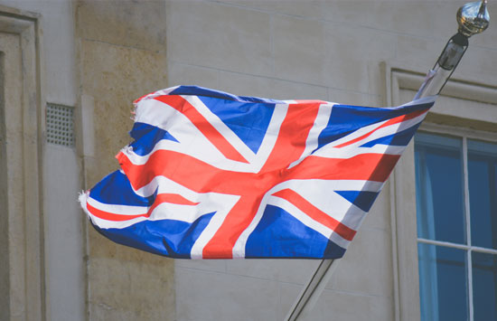 UK flag flying the wind