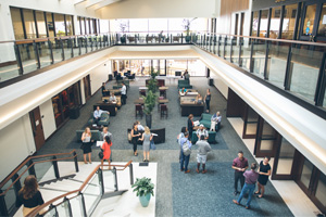 Pepperdine School of Law atrium filled with people
