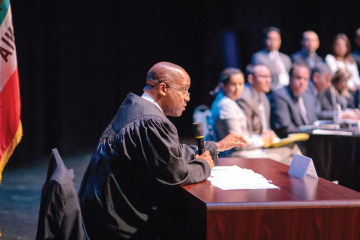 Judge overseeing court hearing