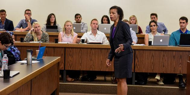 Pepperdine Law School class lecture with Professor Christine Goodman