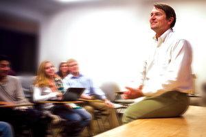 Professor Ed Larson in a classroom