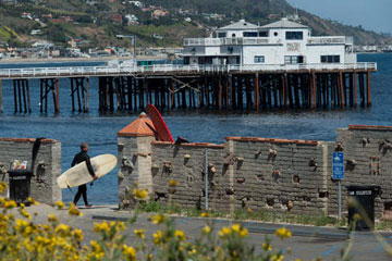 a surfer walks down to Surfrider beach by the Malibu Pier