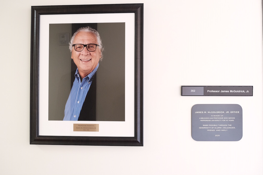 Jim Goldrick office photo and plaque