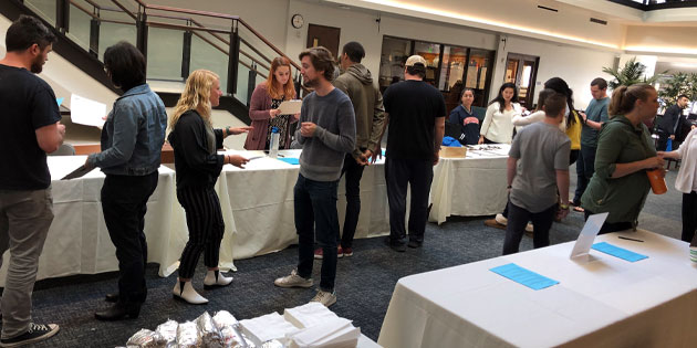 students in the atrium for mental health screening event