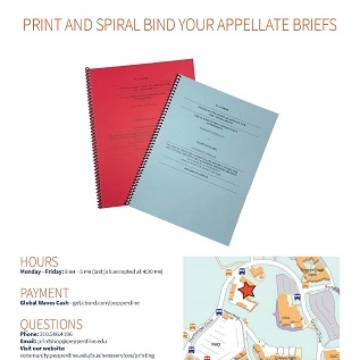 Appellate briefs with red and blue covers
