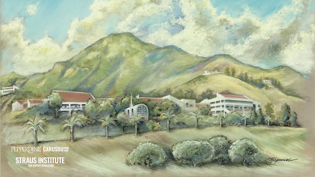 drawing of Pepperdine campus